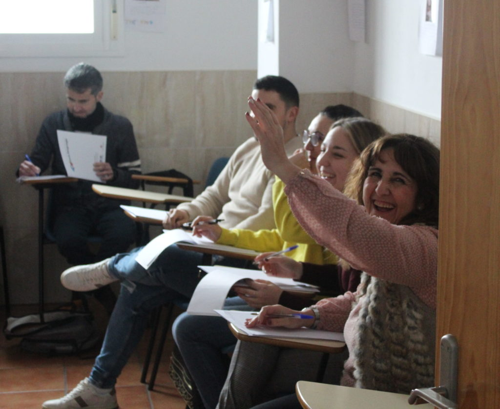 Teachers in a training session